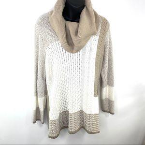 Calvin Klein patchwork knit sweater turtleneck M